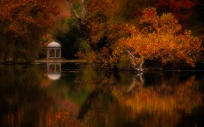 Picture autumn, trees, landscape, nature, pond, Park, gazebo