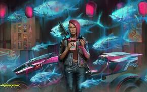 Picture girl, rpg, video game, night city, CD Projekt RED, Cyberpunk 2077, Cyberpunk, redhair
