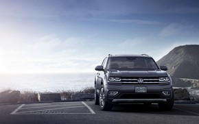 Picture grey, coast, Volkswagen, Parking, Atlas, 2017
