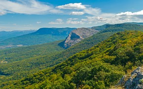 Picture greens, forest, the sky, the sun, clouds, trees, mountains, nature, rocks, panorama, Crimea, the view …