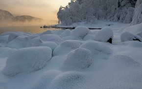 Picture winter, snow, landscape, nature, fog, river, frost, Enisey, Марина Фомина