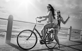 Picture wave, bike, shadow, promenade, pond