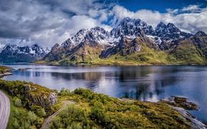 Picture road, mountains, Norway, Norway, the fjord, Nordland, The Lofoten Islands, Lofoten, Nordland, Austvågøy Island, Остров …
