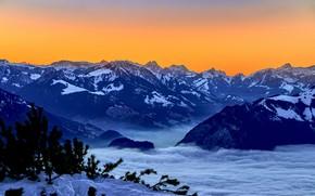 Picture snow, sunset, mountains, Switzerland, Switzerland, Bernese Alps, The Bernese Alps