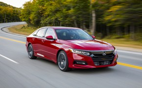 Picture road, forest, red, speed, Honda, Accord, sedan, 2018, four-door, 2.0T Sport