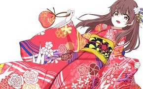 Picture girl, art, handbag, yukata, barrette, Form voice, You No Katachi, Form Voice