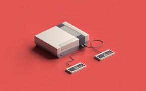 Picture Retro, Art, Console, Nintendo, Rendering, Retro, Minimalism, Joysticks, Joysticks, Nintendo Entertainment System, by Matthias Jessen, …