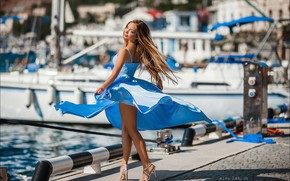 Picture look, girl, pose, model, hair, pier, dress, legs, Alex Lett, Alex Latysh