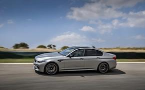 Picture the sky, asphalt, clouds, grey, speed, BMW, sedan, track, 4x4, 2018, four-door, M5, V8, F90, …