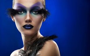 Picture look, girl, blue, face, style, background, black, model, portrait, feathers, makeup, hairstyle, beauty
