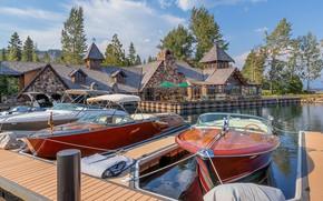 Picture summer, lake, Marina, boats, CA, Lake Tahoe, lake Tahoe, yacht club, Boathouse and Yacht Club