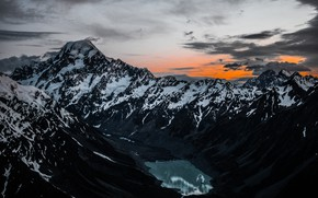 Picture mountains, lake, tops