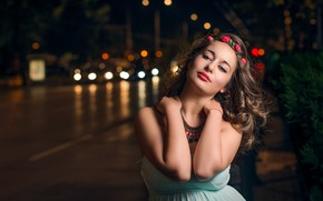 Picture look, girl, flowers, night, nature, the city, smile, street, dress, brown hair, wreath, curls, bokeh, …