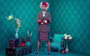 Picture girl, retro, model, interior, African-American