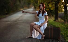 Picture road, girl, pose, dress, suitcase, gesture, Goran Dobožanov