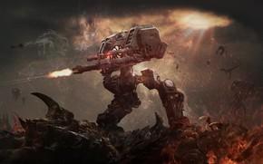 Picture Fire, Blizzard, Terran, Starcraft, Zerg, Goliath, Goliath, Game Art, Terran, Transport, Nak Ma, by Nak …