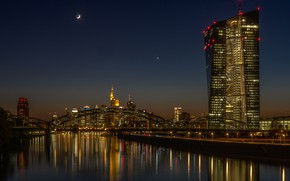 Wallpaper the sky, night, bridge, the city, lights, reflection, the moon, building, skyscrapers, Germany, tower, architecture, ...