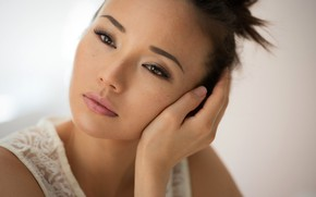 Picture face, pose, model, portrait, makeup, hairstyle, brown hair, beauty, in white, bokeh, Mark Prinz, Taisia