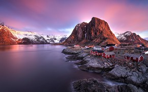 Picture the sky, sunset, mountains, stones, rocks, lilac, shore, tops, the evening, Norway, houses, pond, rocky, …