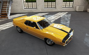 Picture Car, Classic, Coupe, Yellow, Muscle car, AMX, AMC Javelin