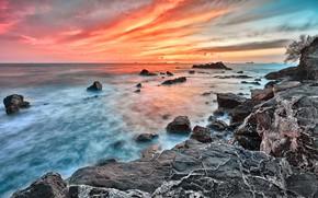 Picture sea, the sky, clouds, light, landscape, sunset, nature, stones, rocks, shore, coast, ships, the evening, …