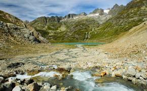 Picture photo, Nature, Mountains, Lake, Switzerland, Stones, Stein glacier