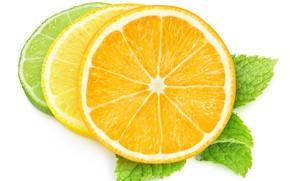 Picture white background, citrus, slices
