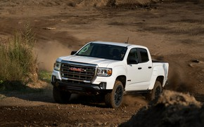 Picture earth, dust, pickup, the ground, GMC, Crew Cab, Canyon, AT4, 2020, 2021, Off-Road Performance Edition