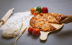 Picture hand, cheese, vegetables, pizza, cakes, pizza, flour, the dough