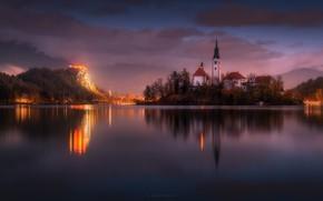 Picture the sky, sunset, mountains, lake, the evening, Church, Slovenia, Slovenia, photographer Alexandr Kukrinov