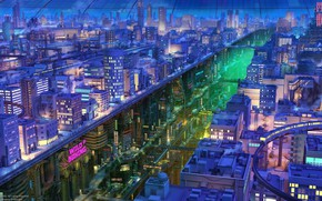 Picture Lights, Night, The city, Japan, Levels, Building, Asia, City, Japan, Architecture, Art, Night, Fiction, Train, …