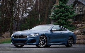 Picture rain, coupe, BMW, 2018, 8-Series, 2019, pale blue, M850i xDrive, Eight, G15