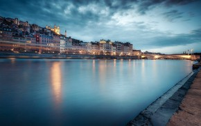 Picture lights, river, France, the evening, Lyon
