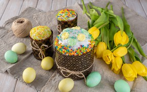 Picture holiday, eggs, Easter, tulips, cake