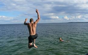 Picture joy, lake, jump, guy, muscle, youth, Belarus, my photo, Naroch