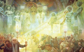Picture 1926, Alphonse Mucha, The Slavic epos, Mount Athos