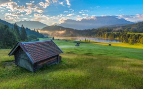 Picture landscape, mountains, nature, fog, lake, dawn, home, morning, Germany, Bayern, Alps, forest, meadows, Geroldsee