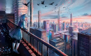 Picture girl, the city, art, ears