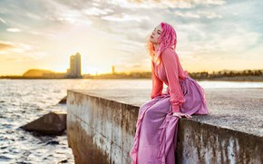 Picture the sun, model, skirt, portrait, makeup, hairstyle, blouse, beauty, sitting, promenade, bokeh, on the shore, …