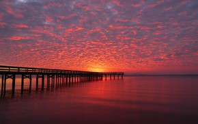 Picture the sky, clouds, sunset, river, the evening, pier, horizon, pierce, glow, United States, Virginia, King ...