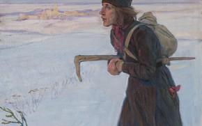 Picture winter, 1919, Aleksei Mikhailovich Korin, THE MONK