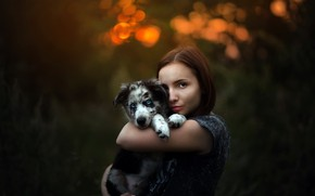 Wallpaper girl, dog, puppy