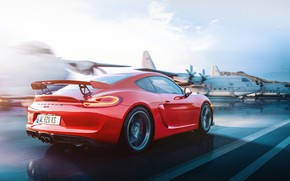 Picture Red, Auto, Machine, Cayman, Red, Porsche Cayman, Aircraft, Porsche Cayman GT4, by the light of …
