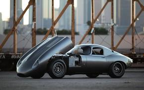 Picture Grey, The hood, Jaguar E-Type, Sports car