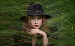 Picture grass, look, girl, face, hand, portrait, hat, Вячеслав Крисанов
