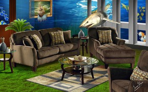 Picture fish, furniture, interior, shark, creative art
