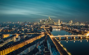 Picture the city, lights, the evening, Germany, Frankfurt am main