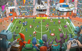 Wallpaper Field, Robots, People, Football, Robots, Fiction, Match, The audience, Football, Stadium, Cyborgs, by Max Degtyarev, ...