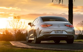 Picture sunset, Mercedes-Benz, CLS, sedan, rear view, 2018, 450, 4MATIC, AMG Line
