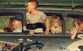 Picture machine, dog, trip, Illustration, adults and children, Norman Rockwell